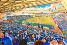 Hand Painted original of rugby park on matchday